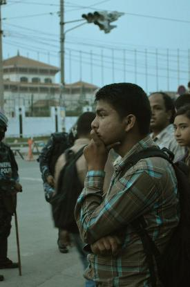 A young Nepali waiting for a new constitution in front of the CA on May 27, 2012