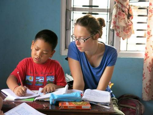 French Gap Year Student Enjoying Teaching in Orphanage